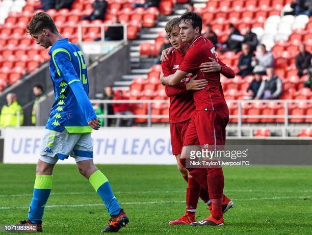 Liam Millar of Liverpool celebrates his goal with Jake Cain during the UEFA Youth League match between Liverpool and SSC Napoli at Langtree Park on...