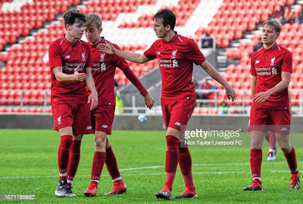 Liam Millar of Liverpool celebrates his goal with Neco Williams during the UEFA Youth League match between Liverpool and SSC Napoli at Langtree Park...