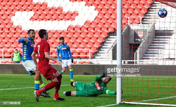 Liam Millar of Liverpool hits the ball into the net only for his effort to be ruled out for offside during the UEFA Youth League match between...