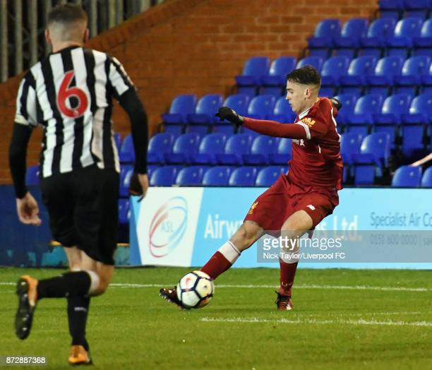 Liam Millar of Liverpool in action during the Liverpool U23 v Newcastle United U23 Premier League International Cup game at Prenton Park on November...