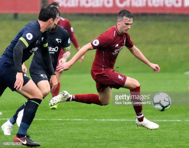 Liam Millar of Liverpool in action during the PL2 game at The Kirkby Academy on October 21 2018 in Kirkby England