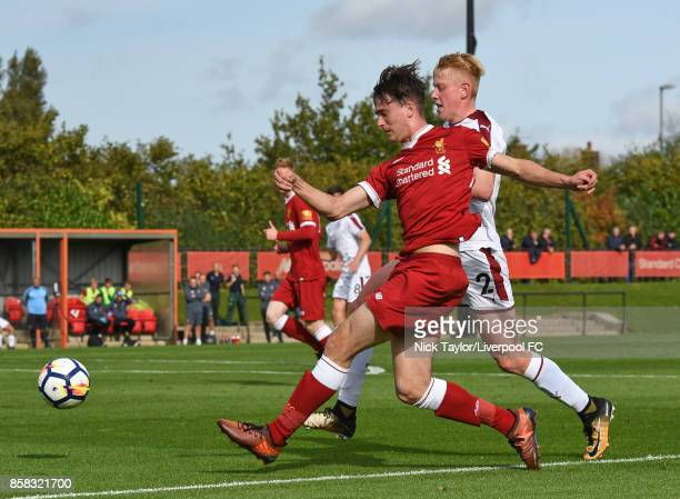 Liam Millar of Liverpool in action during the U18 friendly match between Liverpool and Burnley at The Kirkby Academy on October 6 2017 in Kirkby...