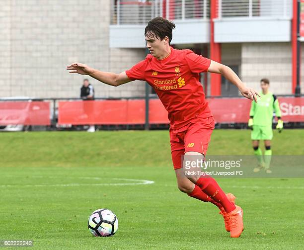 Liam Millar of Liverpool in action during the U18 Premier League game between Liverpool and Stoke City at the Kirkby Academy on September 10 2016 in...