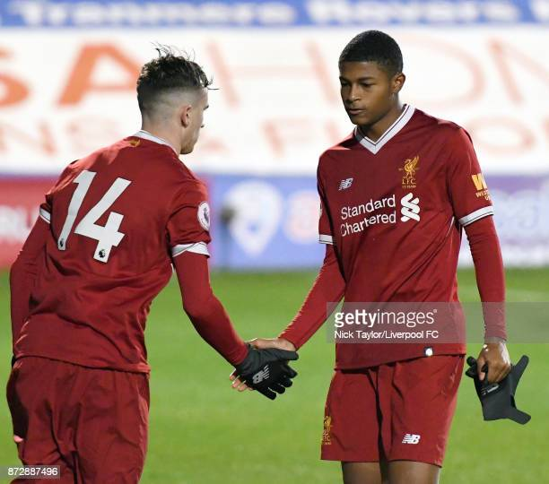 Liam Millar of Liverpool replaces Rhian Brewster to make his U23 debut during the Liverpool U23 v Newcastle United U23 Premier League International...