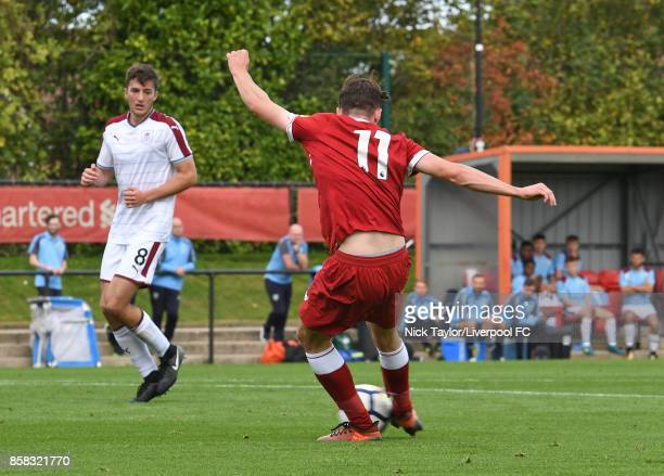 Liam Millar of Liverpool scores during the U18 friendly match between Liverpool and Burnley at The Kirkby Academy on October 6 2017 in Kirkby England