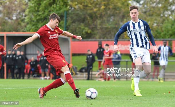 Liam Millar of Liverpool scores his first goal of the game during the Liverpool v West Bromwich Albion U18 Premier League game at The Kirkby Academy...