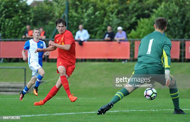 Liam Millar of Liverpool scores his second goal of the game during the Liverpool v Blackburn U18 game at the Kirkby Academy on August 15 2016 in...