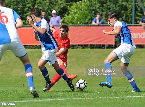 Liam Millar of Liverpool scores his third goal of the game during the Liverpool v Blackburn U18 game at the Kirkby Academy on August 15 2016 in...