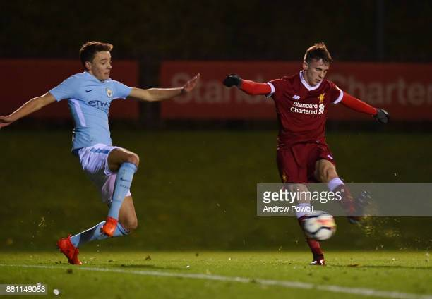Liam Millar of Liverpool scores the opening goal during the U18 Premier League match between Liverpool U18 and Manchester City U18 at The Academy on...