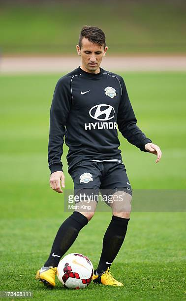 Liam Miller controls the ball during a FFA ALeague AllStars training session at Sydney Olympic Park Warm Up Arena on July 15 2013 in Sydney Australia