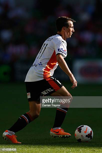 Liam Miller of Brisbane kicks the ball during the round 20 ALeague match between Melbourne Heart and Brisbane Roar at AAMI Park on February 23 2014...