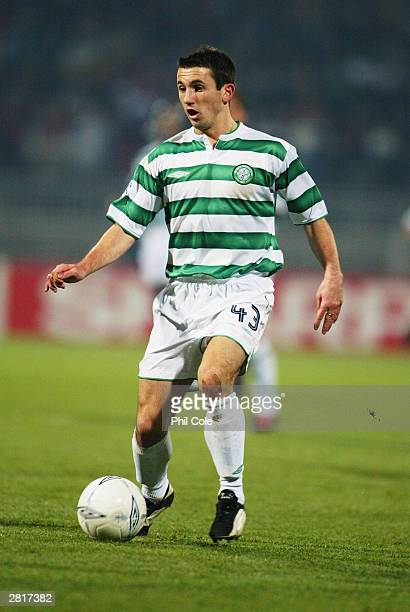 Liam Miller of Celtic in action during the UEFA Champions League Group A match between Lyon and Celtic on December 10 2003 at Gerland in Lyon France...