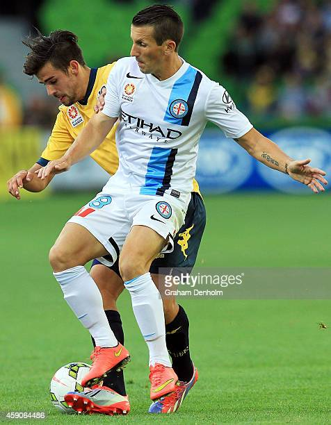 Liam Miller of Melbourne City contests the ball during the round six ALeague match between Melbourne City FC and the Central Coast Mariners at AAMI...