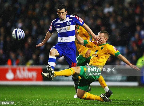 Liam Miller of Queens Park Rangers battles for the ball with Sammy Clingan of Norwich City during the CocaCola Championship match between Queens Park...