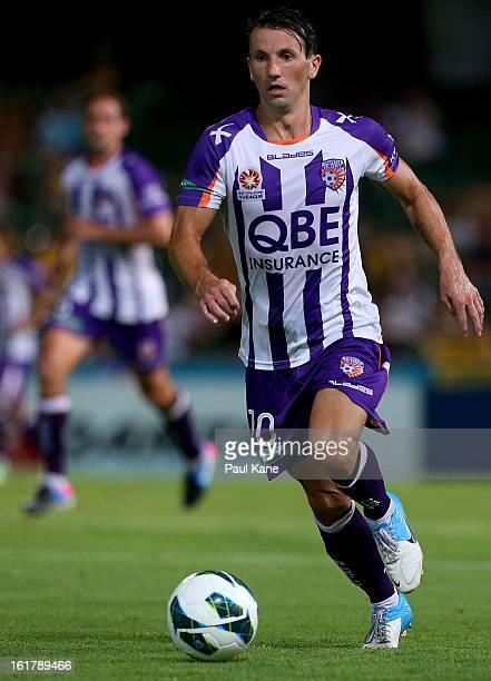 Liam Miller of the Glory controls the ball during the round 21 ALeague match between the Perth Glory and the Central Coast Mariners at nib Stadium on...
