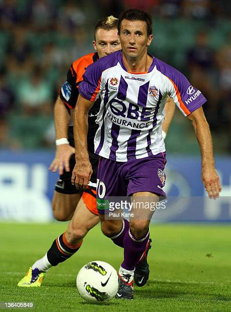 Liam Miller of the Glory looks to pass the ball during the round 13 ALeague match between the Perth Glory and the Brisbane Roar at nib Stadium on...