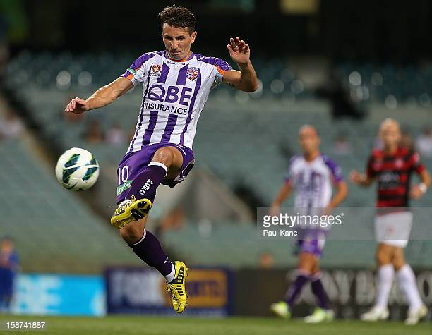 Liam Miller of the Glory traps the ball during the round 13 ALeague match between the Perth Glory and the Western Sydney Wanderers at Patersons...