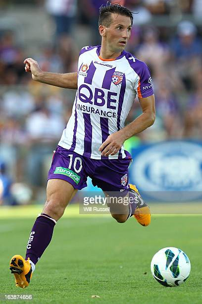 Liam Miller of the Perth Glory controls the ball during the round 25 ALeague match between the Perth Glory and the Wellington Phoenix at nib Stadium...