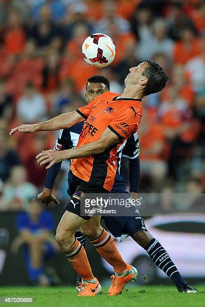Liam Miller of the Roar controls for the ball during the ALeague Semi Final match between the Brisbane Roar and Melbourne Victory at Suncorp Stadium...