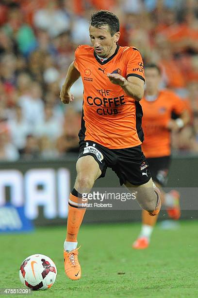 Liam Miller of the Roar controls the ball during the round 21 ALeague match between Brisbane Roar and Perth Glory at Suncorp Stadium on February 28...