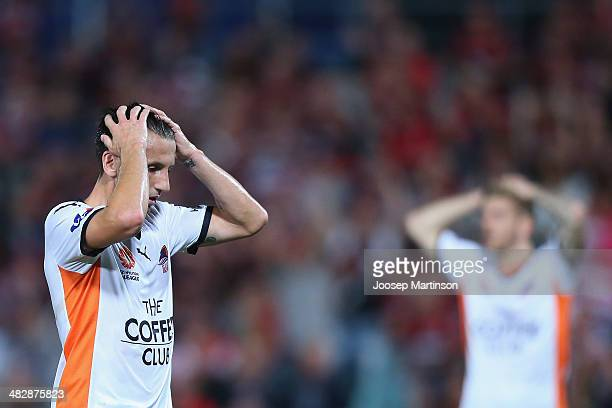 Liam Miller of the Roar looks dejected after missing a chance to score during the round 26 ALeague match between the Western Sydney Wanderers and...
