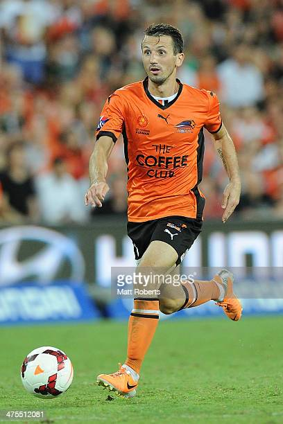 Liam Miller of the Roar looks to pass the ball during the round 21 ALeague match between Brisbane Roar and Perth Glory at Suncorp Stadium on February...