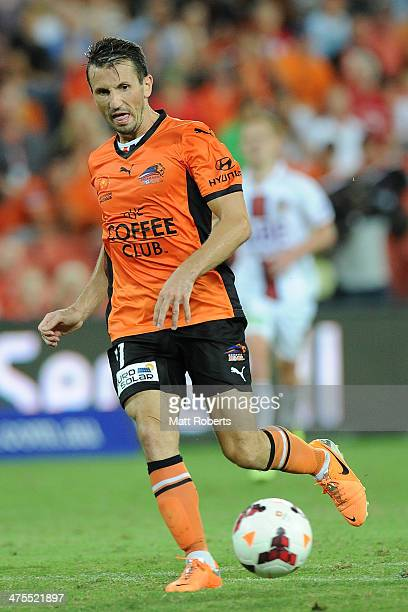 Liam Miller of the Roar passes the ball during the round 21 ALeague match between Brisbane Roar and Perth Glory at Suncorp Stadium on February 28...