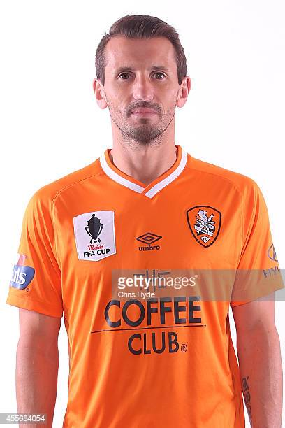 Liam Miller poses during the Brisbane Roar 2014/15 ALeague headshots session at Ballymore Stadium on September 19 2014 in Brisbane Australia