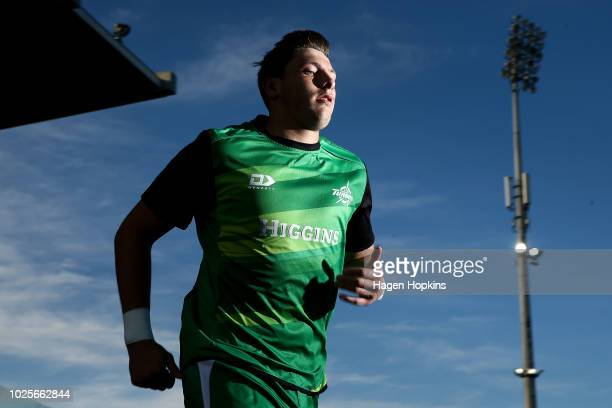 Liam Mitchell of Manawatu takes the field to warm up during the round three Mitre 10 Cup match between Manawatu and Otago at Central Energy Trust...