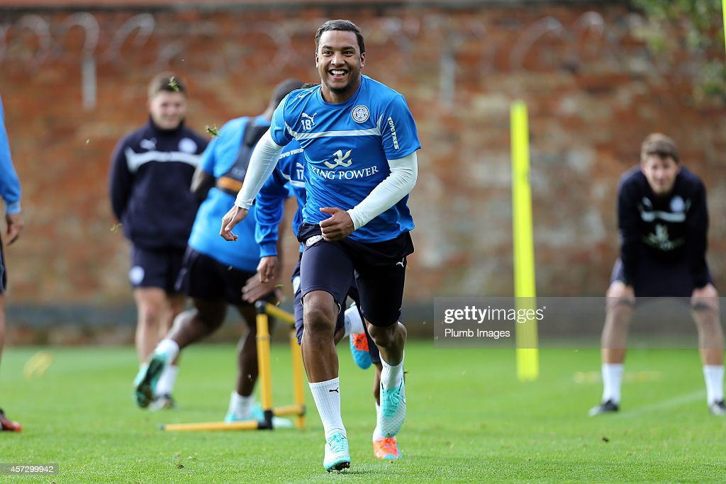 Liam Moore during the Leicester City training session at Belvoir Drive Training Ground on October 16, 2014 in Leicester, England.