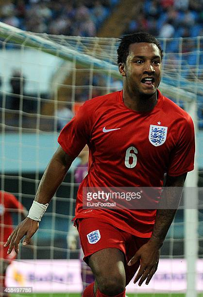 Liam Moore of England celebrates during the UEFA U21 Championship Playoff Second Leg match between Croatia and England at the Stadion Hnk Cibalia on...