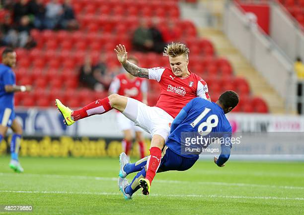 Liam Moore of Leicester City brings down Danny Ward of Rotherham United during the preseason friendly between Rotherham and Leicester City at the New...