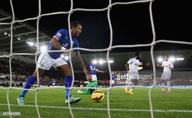 Liam Moore of Leicester City picks the ball out of the net after Wilfried Bony of Swansea City scored their second goal during the Barclays Premier...