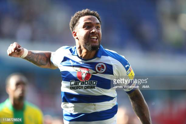 Liam Moore of Reading celebrates at full time as Reading confirm their survival in the Championship after the Sky Bet Championship fixture between...