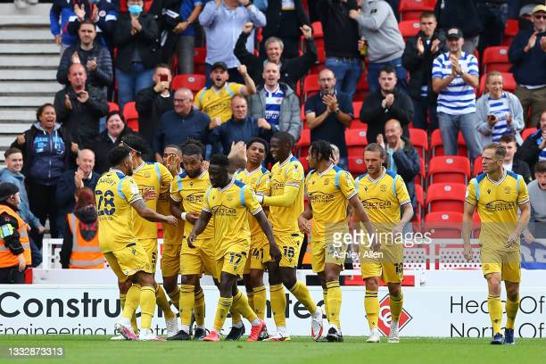 Liam Moore of Reading FC scores during the Sky Bet Championship match between Stoke City and Reading at Bet365 Stadium on August 07, 2021 in Stoke on...