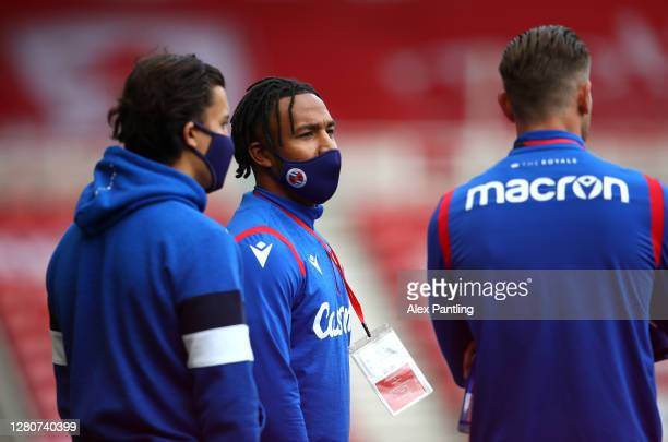 Liam Moore of reading looks on prior to the Sky Bet Championship match between Middlesbrough and Reading at Riverside Stadium on October 17 2020 in...