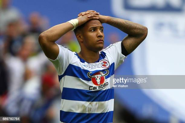 Liam Moore of Reading reacts to missing his sides fourth penalty during the penalty shoot out during the Sky Bet Championship play off final between...