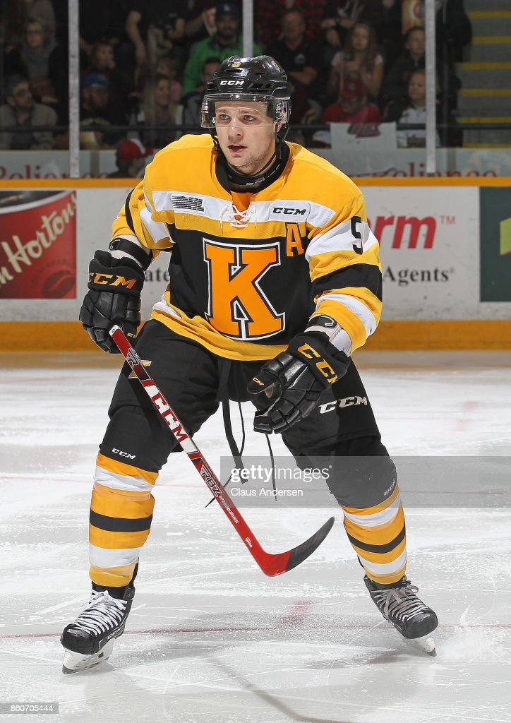 Liam Murray #5 of the Kingston Frontenacs skates against the Peterborough Petes in an OHL game at the Peterborough Memorial Centre on October 12, 2017 in Peterborough, Ontario.