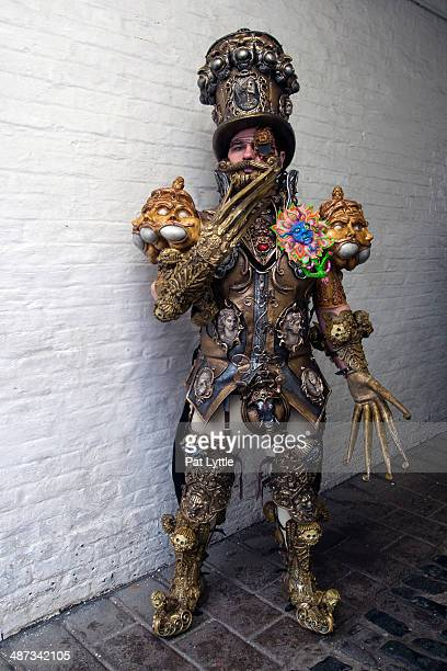 Liam Murray wears an elaborately detailed costume in steam punk style during the Whitby Goth Weekend on April 26 2014 in Whitby England