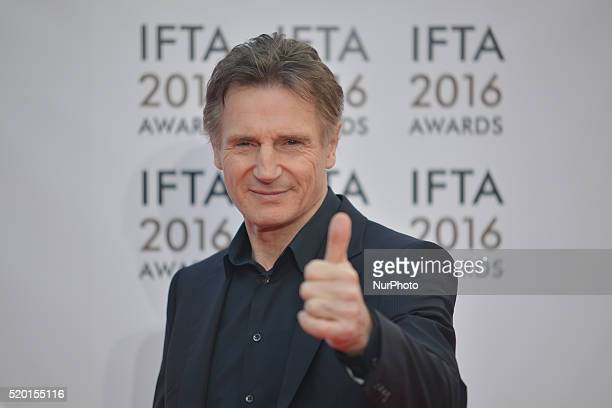 Liam Neeson a Northern Irish actor speaks to the media as he arrives for this year edition of the IFTA 2016 Film amp Drama Awards at the Mansion...