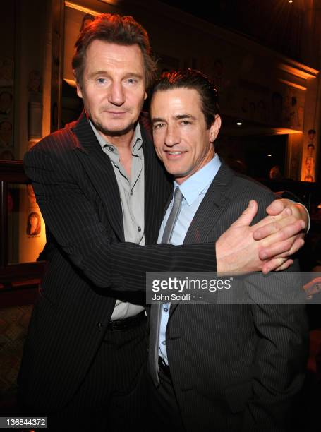 """Liam Neeson and Dermont Mulroney attend Open Road Films' """"The Grey"""" movie premiere after party at Regal Cinemas L.A. Live on January 11, 2012 in Los..."""
