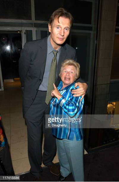 Liam Neeson and Dr Ruth Westheimer during Laura Linney Tribute at Kinsey Screening After Party at Gustavino's in New York City New York United States