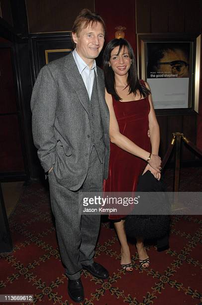 Liam Neeson and Drena De Niro during The Good Shepherd New York Premiere Inside Arrivals at Ziegfeld Theater in New York City New York United States