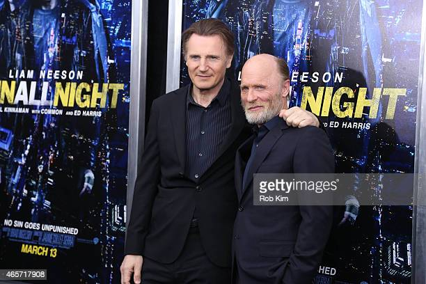 Liam Neeson and Ed Harris attend Run All Night New York premiere at AMC Lincoln Square Theater on March 9 2015 in New York City