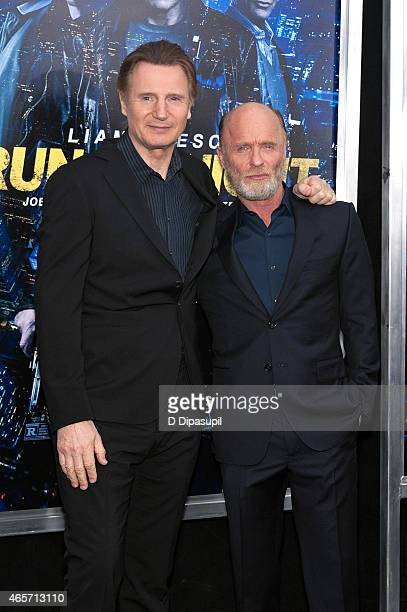 Liam Neeson and Ed Harris attend the Run All Night New York Premiere at AMC Lincoln Square Theater on March 9 2015 in New York City