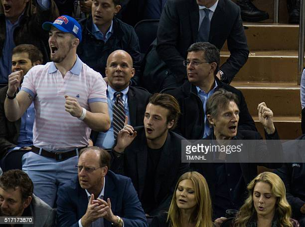 Liam Neeson and his sons Daniel Neeson and Micheal Neeson attend New York Rangers Vs Boston Bruins game at Madison Square Garden on March 23 2016 in...