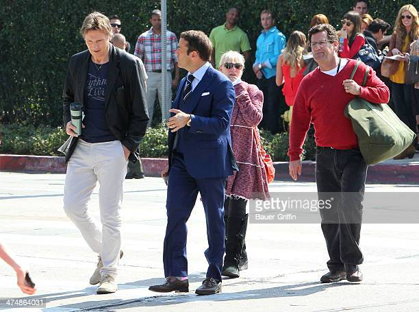 Liam Neeson and Jeremy Piven are seen filming scenes for 'Entourage' on February 25 2014 in Los Angeles California