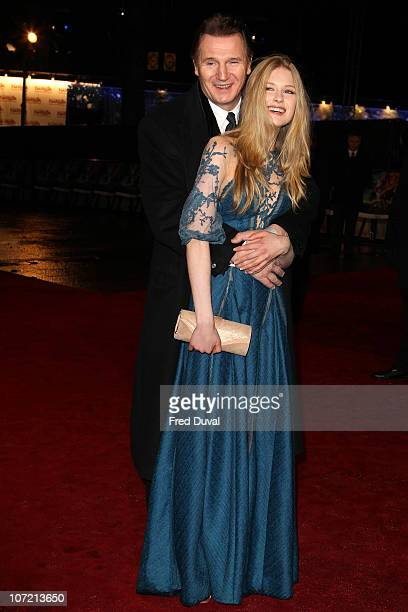 Liam Neeson and Laura Brent attend the royal premiere of 'The Chronicles Of Narnia: The Voyage Of The Dawn Treader' at Odeon Leicester Square on...
