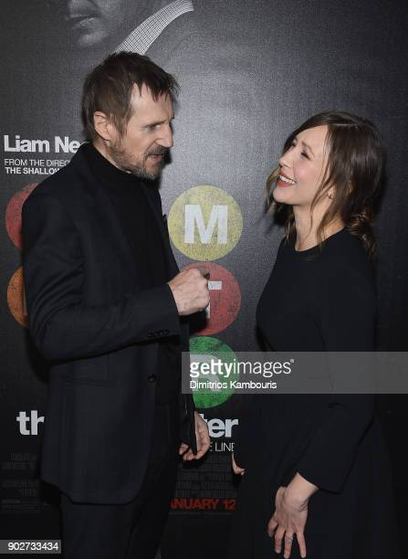 Liam Neeson and Vera Farmiga attend 'The Commuter' New York Premiere at AMC Loews Lincoln Square on January 8 2018 in New York City