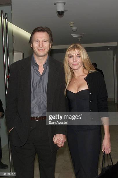 Liam Neeson and wife Natasha Richardson arriving at the world film premiere of Miramax's 'Iris' afterparty at the Fred's in New York City 12/2/2001...